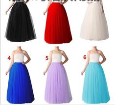 A Line Black Tulle 5 Layers Tutu Skirts Women Pettiocoats Girls Long Und... - $38.99