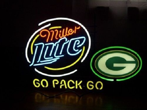 """New Miller Lite Green Bay Packers Go Packers Neon Sign 24""""x20"""""""