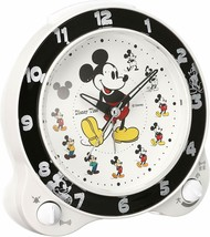 Mickey & Friends Disney Time Alarm Clock analog White Black Cute Gift - $52.36