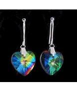 Aurora Borealis Crystal heart earrings pierced hook   - $21.45