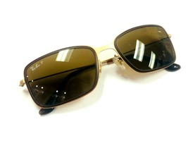 Ray Ban RB3514 149/83 Square Flat Gold Frame Brown Polarized 56mm Sunglasses  - $79.54