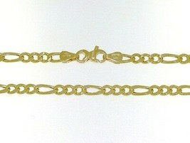 18K GOLD FIGARO CHAIN 2.5 MM WIDTH 25 IN LENGTH ALTERNATE NECKLACE MADE IN ITALY image 1