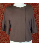 NWT KENNETH COLE brown rayon blend short sleeve jacket 12 (T12-X1D8G) - $50.47