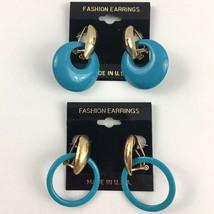 Vintage Funky Door Knocker Earrings Interchangeable Dangle 80s NOS Blue - $19.75
