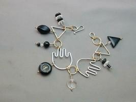 Artisan B Sucherman Sterling & Gilt Figural Hand Link Bracelet Onyx Crystal - $125.00