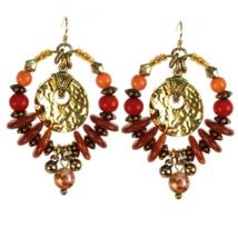 Treska Saffron Sunset Beaded Hoop Dangle Earrings - $22.95