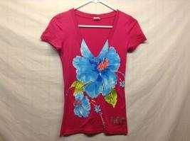 Hollister Short Sleeve Low V Neck Pink Floral Print Shirt Sz XS
