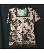 UA Scrubs Scrub Top Pink Floral (no Sz tag) Square Neck - $10.75