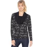 Kensie Black Combo Printed Cowl Neck Matte Jersey Top Blouse, Choose  si... - $25.65