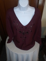 Women's Sweater Top V-Neck Burgandy Large Gently Pre-owned Excellent Con... - $28.00