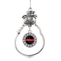 Inspired Silver California Thin Red Line Circle Snowman Holiday Ornament - $14.69