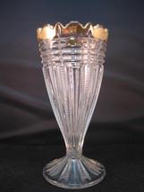PARIS EAPG 6 3/4 Vase Scallop Rim EAPG Vase Notched Zipper Cross ROUGHHN... - $19.95