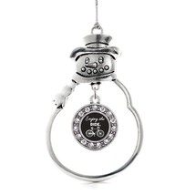Inspired Silver Bicyclist Circle Snowman Holiday Decoration Christmas Tree Ornam - $14.69