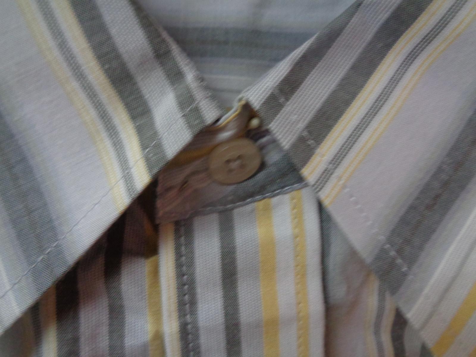 Men's Long Sleeve Dress Shirt Gray & Yellow Striped NWT Sz L Beyond The Limit