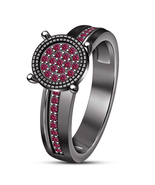 Pink Sapphire 925 Sterling Silver Black Rhodium Finish Engagement Women'... - $84.78