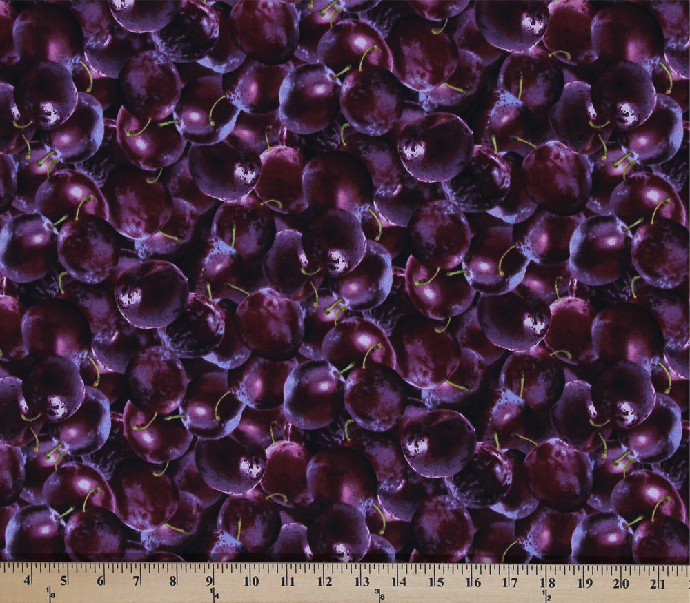 Cotton Farmers Market Fruit Black Cherries Fabric Print by the Yard D770.57