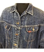 VTG Lee Jean Jacket Denim Acid Wash Red Tab Medium Made USA Coat Work Chore - $50.99