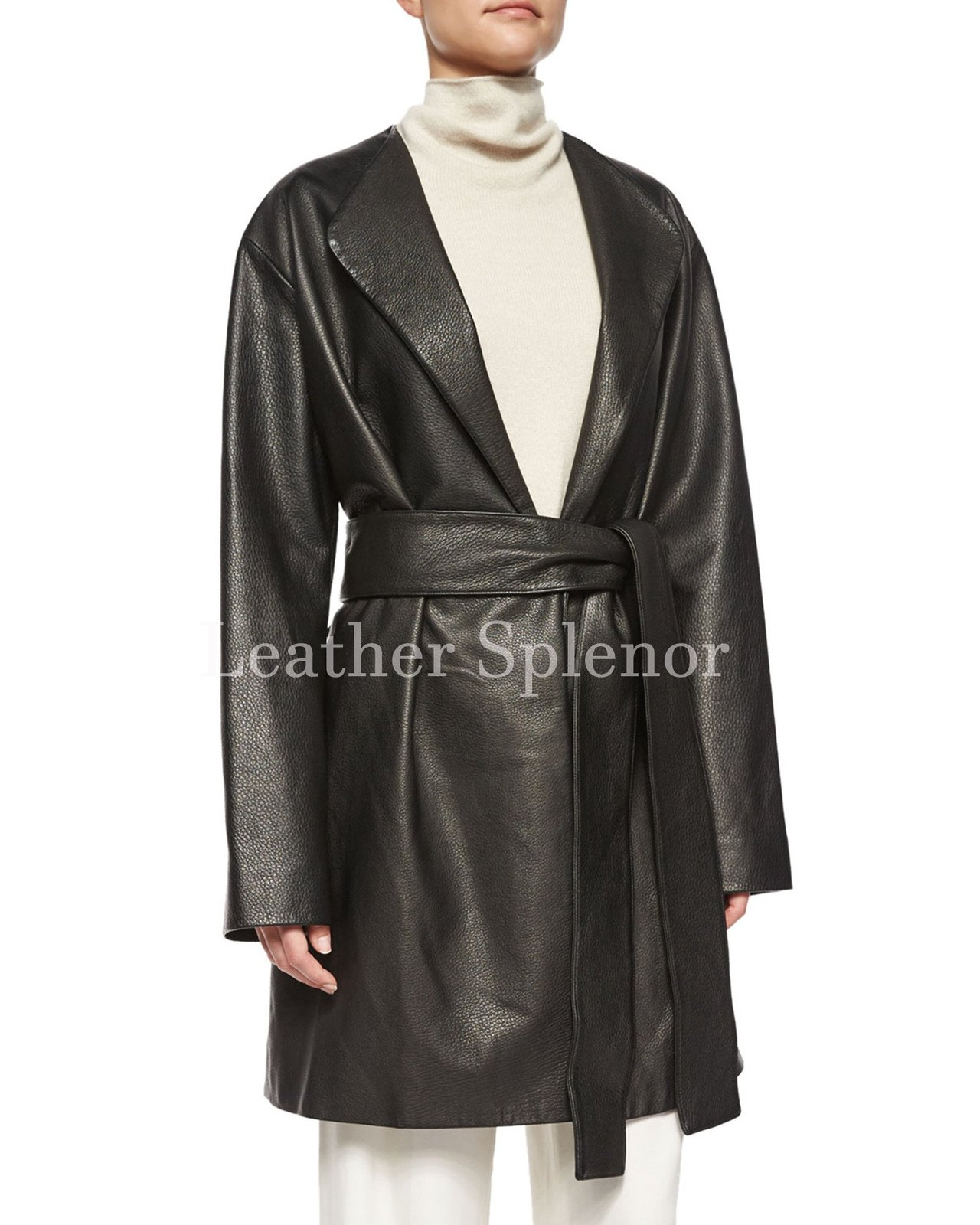 Belted Waist Women Leather Coat