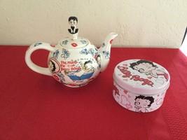 Betty Boop Tea Pot Cardew Design Many Faces 2003 (retired) with Tin Tea Box - $25.00