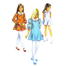 60s Vintage Simplicity Sewing Pattern 8624 Girls Flared Dress Contrast C... - $6.95