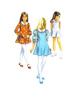 60s Vintage Simplicity Sewing Pattern 8624 Girls Flared Dress Contrast Collar 7 - $6.95
