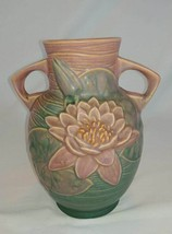 """Roseville Art Pottery Pink Water Lily Double handle vase 77 - 8"""" - $29.65"""