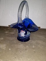 Fenton Blue Basket Twisted Handle Handpainted Jolly Snowman B Williams #818 - $49.99