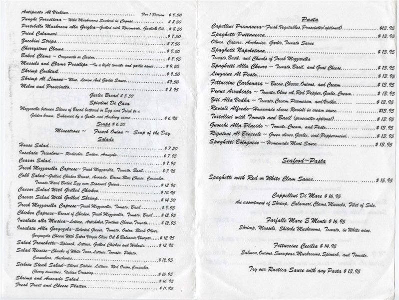 Il Violina Restaurant Menu Columbus Avenue New York City