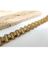 Vintage Marked Spain Gold Tone Black White Damascene Link Bracelet DD9 - $29.69