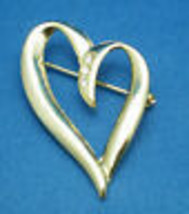 Vintage Gold Toned Heart with Three Cubic Zirconia Stones Pin Brooch - $19.80