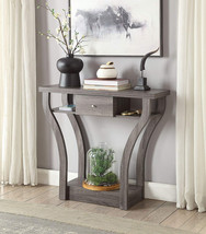 Weathered Grey H Curved Console Sofa Entry Hall Table With Shelf / Drawer - $165.70