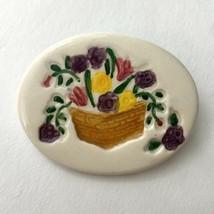 Carol Berry for Longaberger Brooch Pin Ceramic Vintage Signed Flower Basket - $23.72