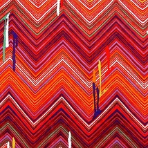Vintage Chevron Fabric Drip Paint Look Poly Sewing Bright Colors Striped... - $24.75