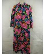Loll Ease Neon Floral Long Sleeve Maxi Dress Half Zip Vtg 60s Womens  - $39.59