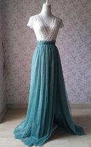 Women Bridesmaid Misty Green Split Tulle Skirt Wedding Maxi Tulle Skirt,US0-US30 image 4