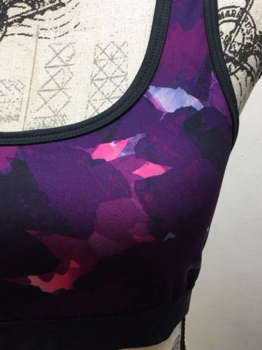 New Lululemon Yoga Sports Bra Violet Blue Pink Abstract Graffiti Sz 6