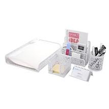 Crystallove Set of 5 White Metal Mesh Desk Accessories Organizer, Style 1 - $26.92
