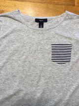 Gap Kids Girl's Gray, Blue & White Striped Pocket Shirt - Size: Medium image 3