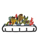 Cast Iron Wall Hook Rack Tropical Fish & Coral Colorful Beach Decor 11.1... - $16.99