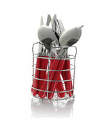 Gibson Sensations II 16 Piece Stainless Steel Flatware Set with Red Handles a... - $35.39