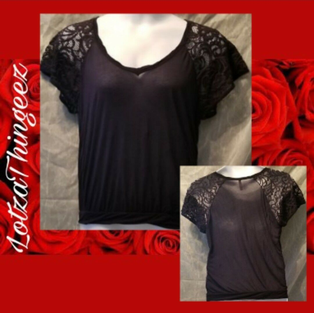 Free People S Black w/ Lace Short Sleeves Top SO SOFT Blouse