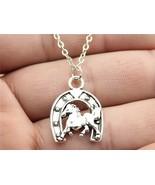 Simple Vintage Antique Silver 23*17Mm Silver Horseshoe Horse Necklace N2-B13161  - $31.00