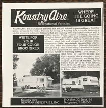 1976 Kountry Aire Recreational Vehicles Nappanee IN Ad Where the Going i... - $7.15