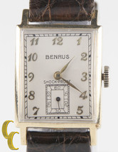 Benrus 14k Yellow Gold Vintage Hand-Winding Watch w/ Brown Leather Band - $683.09