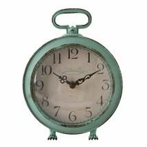Analog Desk Mantle Clock Metal Distressed Vintage Style Shabby Chic Farm... - $69.00