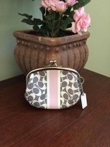 Coach Coin Purse Bag Pink Gray Chelsea Heritage Stripe Kiss-lock Framed ... - $48.37