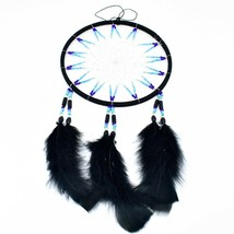 """Handcrafted 13"""" Dreamcatcher Green Yellow Red Plastic & Wood Beads Feathers  image 2"""