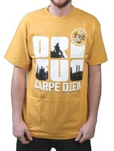 Orisue Mens Gold Yellow White Carpe Diem Union Working Industry T-Shirt NWT