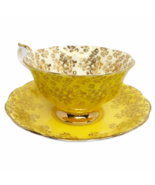 Royal Albert Empress Series Yellow and Gold Filigree Cup and Saucer Gold Roses - $49.49