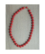 Vintage Red Plastic Bead Necklace 10mm Round - $18.00